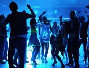Silhouette of people dancing at a disco. Image shot 2008. Exact date unknown.